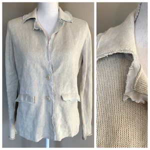 Eileen Fisher Gray Cream Raw Edge Boxy Cardigan